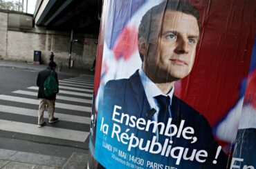 Emmanuel Macron French election poster