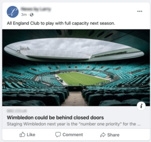 Example of a Facebook link post